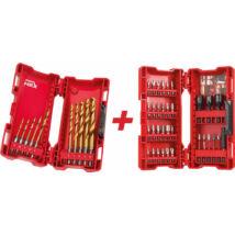 Csigafúró készlet HSS-G TIN RED HEX + 33 részes bit és dugókulcs készlet MILWAUKEE