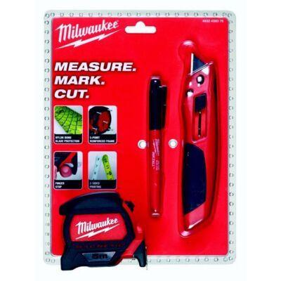 Kéziszerszám szett (mérőszalag, törhető pengés kés, jelölőfilc) MILWAUKEE