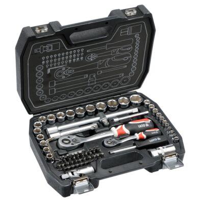 Dugókulcs készlet 72 részes 1/2 col 10-27 mm, 1/4 col 4-13 mm CrV YATO